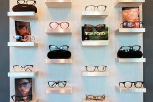 Tom Ford glasses display at The Eye Group in Knoxville TN